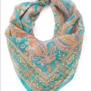 Teal silk scarf